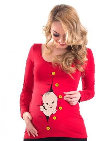 Bluza gravide - Hello Baby - ROSU