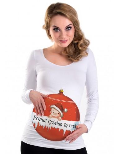Bluza gravide toamna -  Primul Craciun in 3 - alb